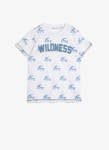 Koton Koton Timsah Desenli ve Baskılı T-Shirt Beyaz